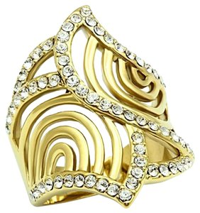 Other IP Gold(Ion Plating) Top Grade Cocktail Crystal Ring