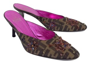 Fendi Brown Beaded Monogram Side On Sandals