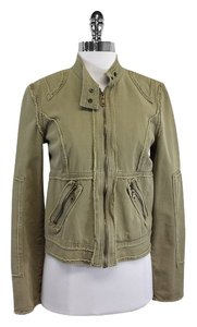 Joie Green Khaki Cotton Fringe Jacket