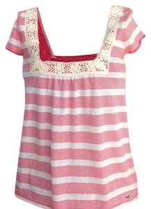Hollister Top Coral/White