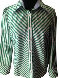 Tommy Hilfiger Button Down Shirt Green and white