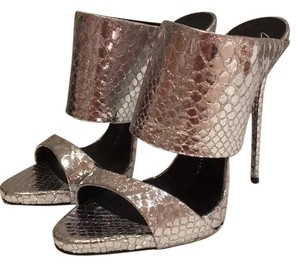 Giuseppe Zanotti Metallic Silver Snake-embossed Double Strap Mules Formal