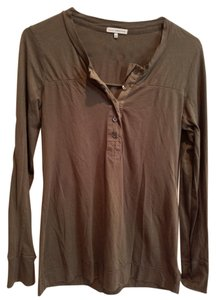 James Perse James Olive Green Long Sleeve T-shirt With Button Placket Sweater