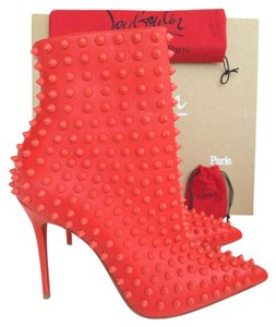 Christian Louboutin Spike Snakilta Spiked Pointed Toe Pointy Pointy Toe Ankle Ankle Studded Leather Matte Luxury Exclusive Red Boots
