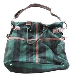Urban Outfitters Bdg Flannel Leather Green Motif Travel Bag