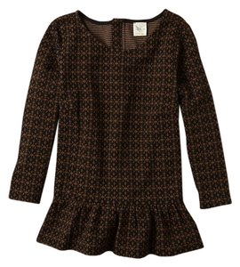 Anthropologie Peplum Lady Like Autumn Top Black/Brown