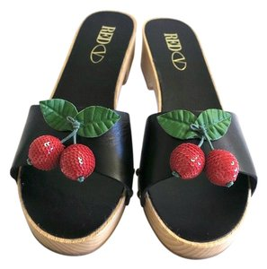 RED Valentino Cherry Clogs Black and Red Sandals