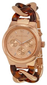 Michael Kors Michael Kors Women's Rose Gold-Tone Tort Runway Watch MK4269