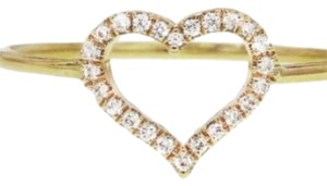 Jennifer Meyer Jewelry Diamond Open Heart Stacking Ring - Yellow Gold