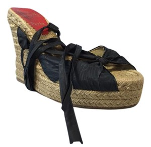 Christian Louboutin Ribbon Black Wedges