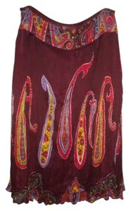 Colorful Paisley Sequined Skirt Multi-Color