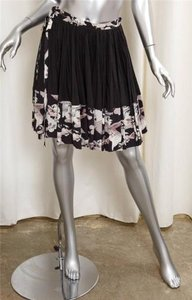 Chanel Spring Full Pleat Airplane Print Skirt Black