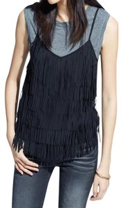 Mango Fringed Top Black