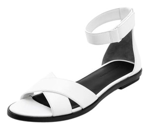 Alexander Wang Leather Crisscross Strap Flat White Sandals