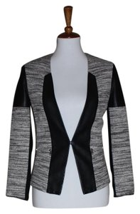 Cut25 Yigal Azrouel Tweed Size Small Leather Trim Coat / Black and White Jacket