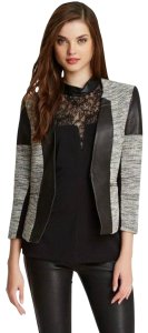 Cut25 Yigal Azrouel White Tweed Leather Panel Cropped Tweed Blazer Leather Coat Black Jacket