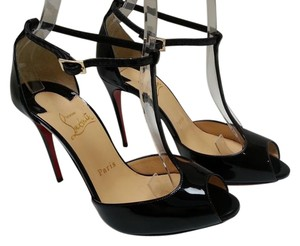Christian Louboutin Open Toe T-strap Pump Black Pumps