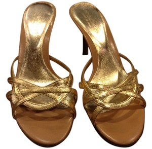 Sergio Rossi Gold and tan Sandals