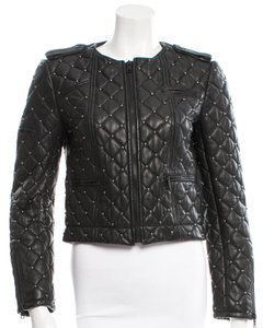 Alice + Olivia Studs Casual Elegant Moto Leather Jacket