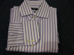 Hugo Boss Lavender/White L Cotton L/S Dress 16.5/36-37 Shirt