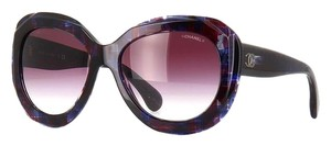 Chanel 5323 Signature Butterfly Square Shaded Blue Red Silver CC Oversized