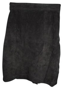 MJ CARROLL Genuine Leather Suede High Waist Fitted Halloween Mini Skirt Black