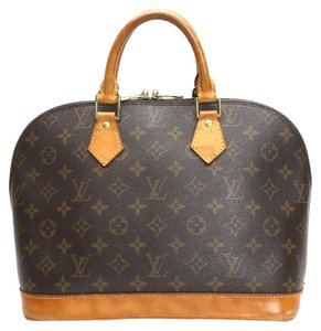 Louis Vuitton Lv Alma Leather Signature Satchel in Brown