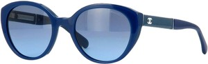 Chanel 5252 Q Blue CC Logo Cat Eye Patent Leather Butterfly Cateye