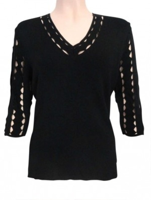 Preload https://item2.tradesy.com/images/venini-black-medium-cut-out-sleeves-and-neckline-stretch-blouse-size-8-m-187301-0-0.jpg?width=400&height=650