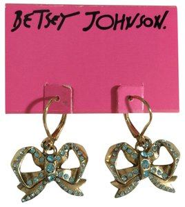 Betsey Johnson Crystal Bow Earrings