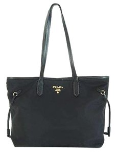 Prada Neverfull Nylon Saffiano Tote Shoulder Bag