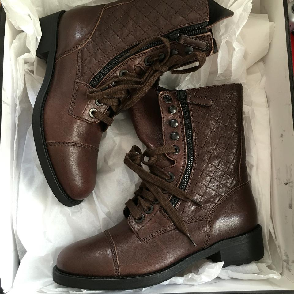 f4ceeb8fb32 Chanel Brown 37.5 Leather Quilted Combat Riding High Boots Booties Size US  7.5 Regular (M