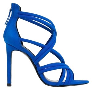 Zara Strappy Heels Night Out Date Night Blue Sandals