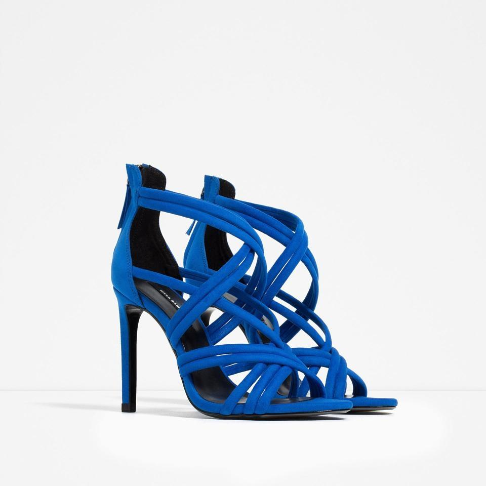 Zara New!! Box Strappy Heels Tags Blue Sandals | Sandals on Sale