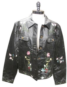 Metro Style Vintage Leather Embroidered Leather Jacket