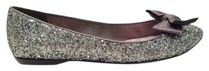Miu Miu Mui Mui Shiny Satin Size 38 Leather Lining Metallic Gray Glitter Flats