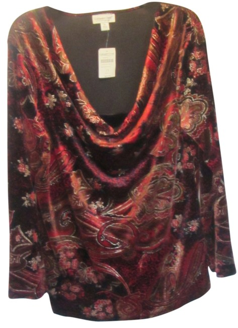Item - Red with Black and Gold Cowl Neck Blouse Size 16 (XL, Plus 0x)