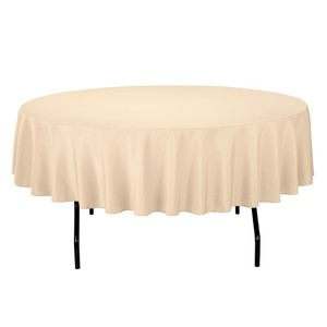 6 Linentablecloth 90-inch Round Polyester Tablecloth Beige