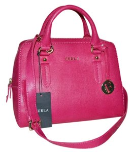 Furla Saffiano Leather Elena Fuchsia Silvertone Satchel in GLOSS PINK