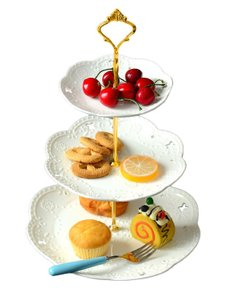 3-tier Porcelain Cake Stand-cupcake Stand- Dessert Stand-tea Party Serving Platter