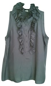 J.Crew Silk Ruffle Top grey
