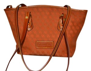 Dooney & Bourke Leather Trim Logo Canvas Tote in Burnt Orange