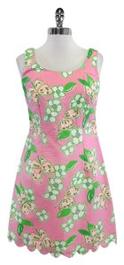 Lilly Pulitzer short dress Pink Green Cotton Butterfly Print on Tradesy