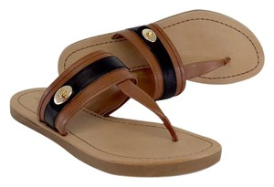 Coach Brown Black Turnlock Eileen Sandals