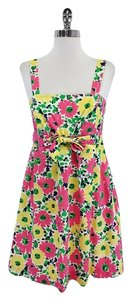 Lilly Pulitzer short dress Pink Yellow Green Floral Cotton on Tradesy