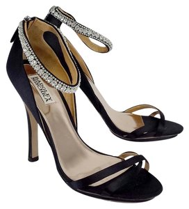 Badgley Mischka Black Satin Strappy Jeweled Heels Sandals