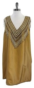 Calypso short dress Tan & White Beaded V-neck Fringe on Tradesy