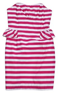 Lilly Pulitzer short dress Pink White Striped Peplum on Tradesy