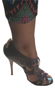 L.A.M.B. Leather Peep Toe Stiletto Strappy chocolate Boots