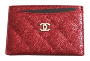 Chanel New Red Caviar Leather Credit Card Case Wallet